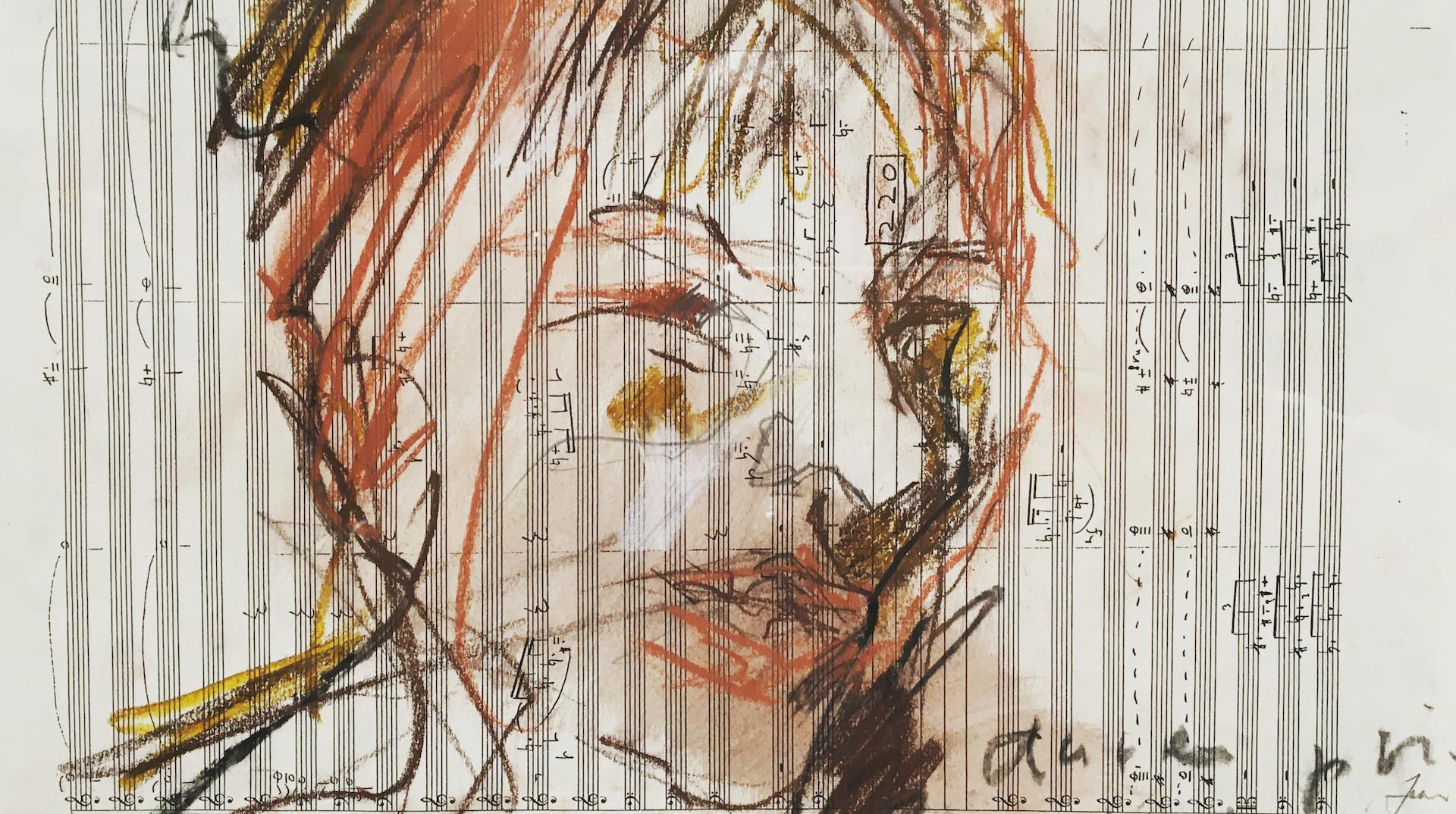 gezeichnetes Portät auf Notenblatt