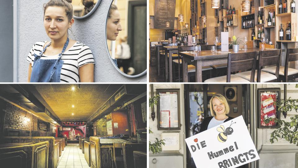 Foto 1: junge Frau vor einem runden Spiegel, Foto 2: Blick in eine Gaststätte, Foto 3: Cafeehaus in Passage, Foto 4: Frau Hummel hält ein Schild vor ihrem Café
