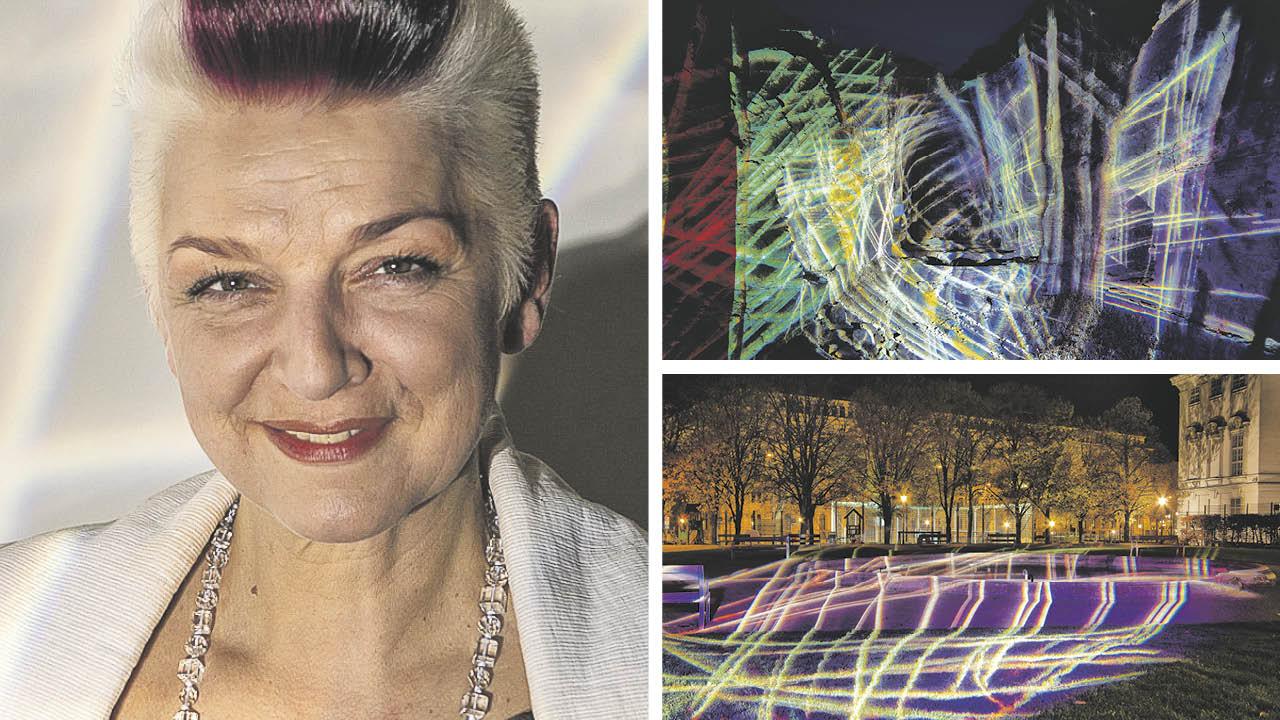 Lichtkünstlerin Victoria Coeln; Chromotope, Ephesos 2015; Wiener Lichtblicke work in progress Weghuber Park, 2020