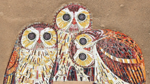 3 Eulen aus Mosaiksteinchen