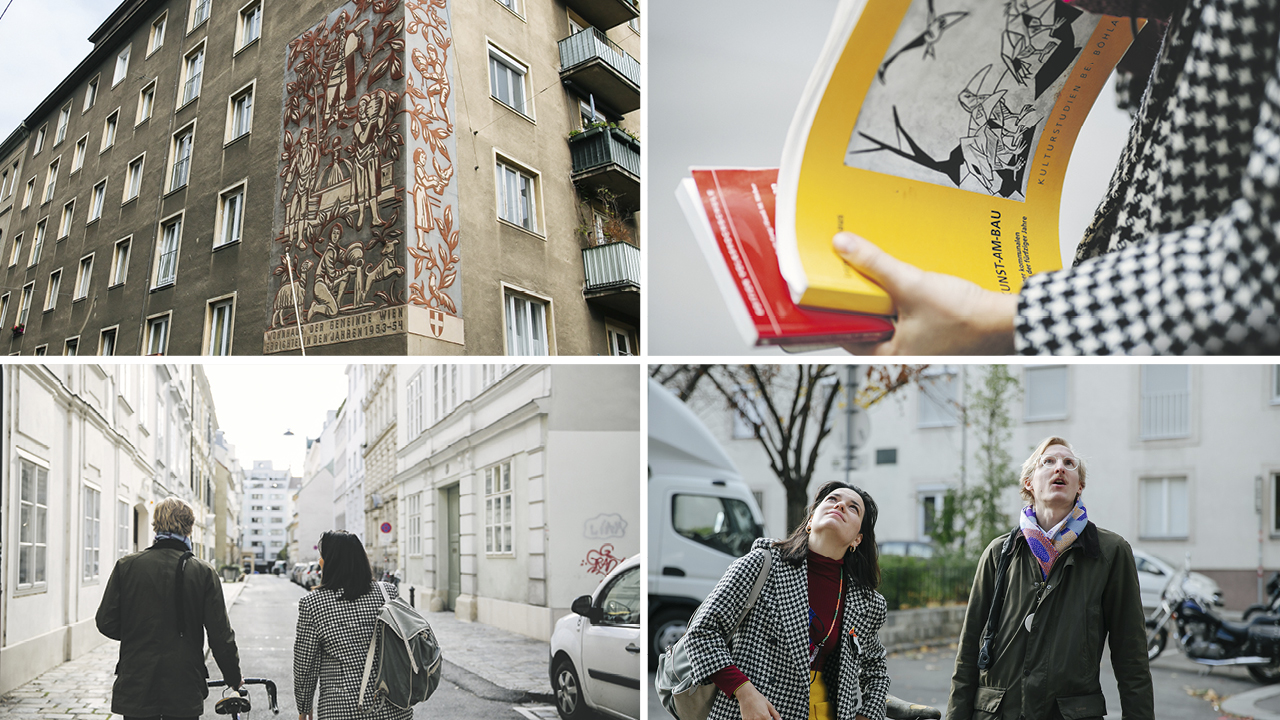 Raufschau-Museum, Foto1: 3 Eulen an einer Hausfassade, Foto2: zwei Bücher, die gehalten werden, Foto3: Frau spaziert durch den 8. Bezirk, Foto 4: Frau schaut hinauf