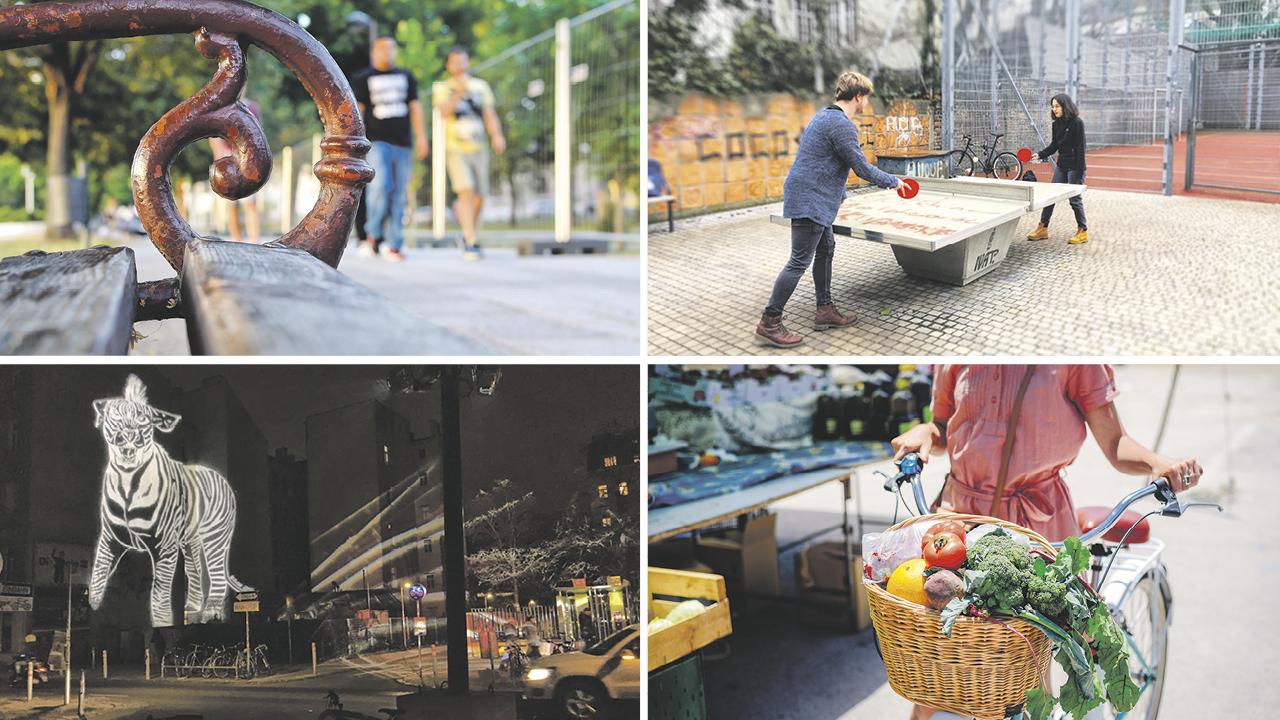 Foto1: ein Paar beim Spaziergang im Park, Foto 2: zwei junge Männer spielen Tischtennis im Park, Foto3: Lichtinstallation Tigerzebra im Tigerpark, Foto 4: Flohmarkt