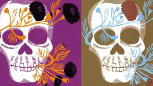 2 stilisierte Totenköpfe