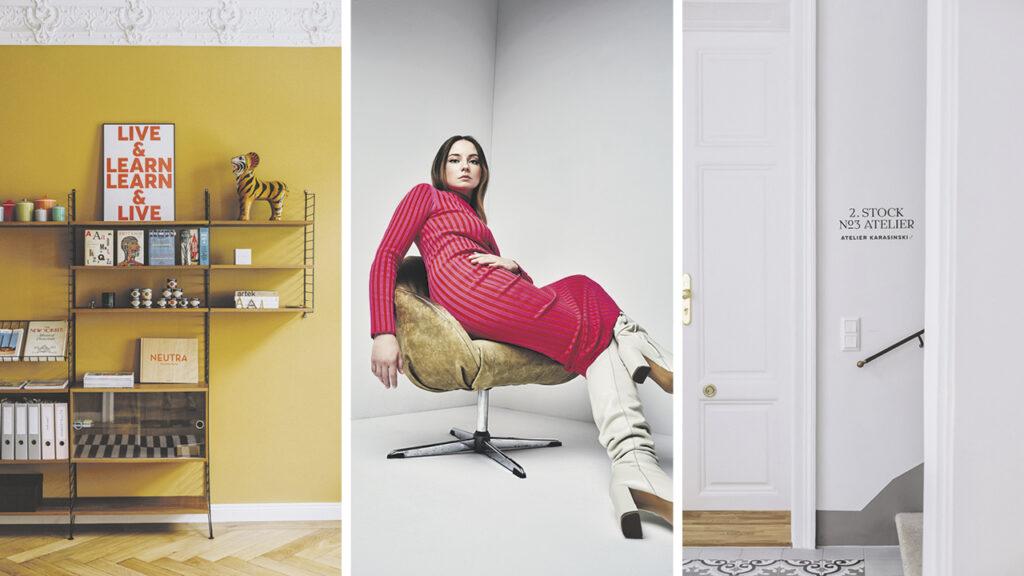Klara Karasinkski, Foto 1: Regal an dunkelgelber Wand, Foto2: junge Frau im roten Kleid sitzt entspannt auf einem Sessel, Foto 3: weiße Tür Atelier Karasinski