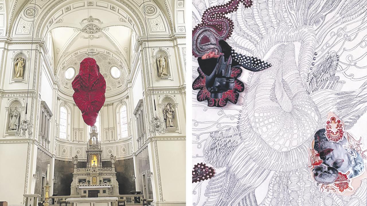Kunstwerk rote Zunge hängt von der Decke der Breitenfelderkirche, Foto2: gezeichnete Grafik mit Muster