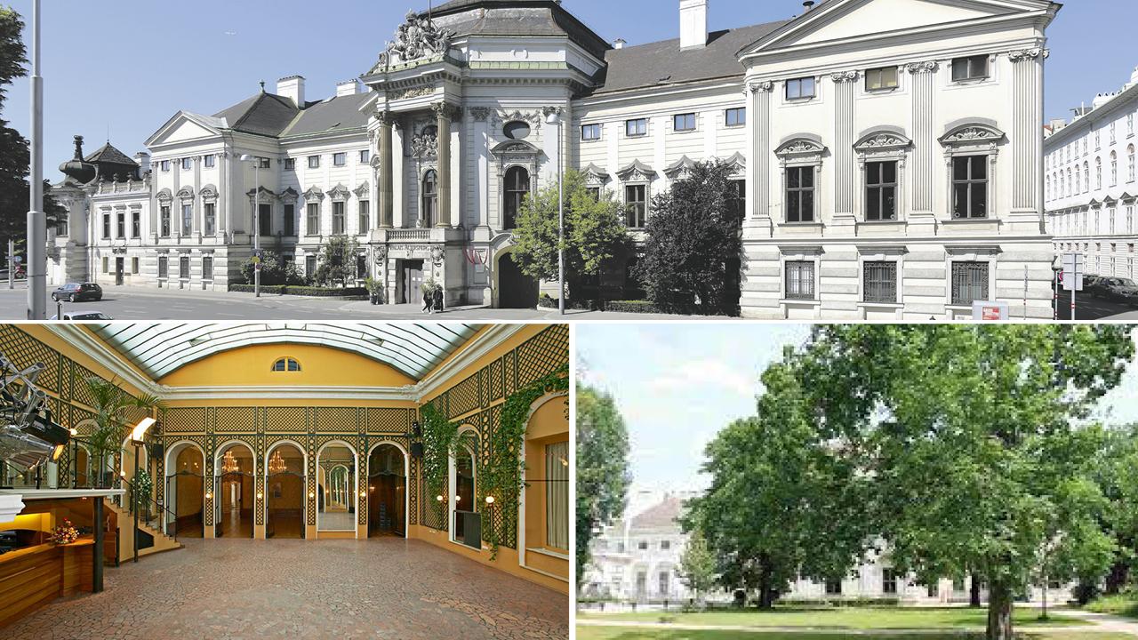 Palais Auersperg, Foto1: Außenansicht, Foto2: Fassade, Foto3: im Inneren, Eingangshalle, Foto4: Garten des Palais
