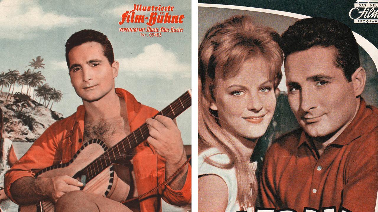 Foto 1: Freddy Quinn mit Gitarre, Foto2: Freddy Quinn mit Filmpartnerin